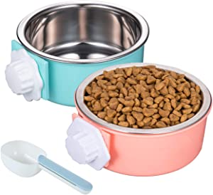 Linifar Crate Dog Bowl, Removable – 2 Pack of Stainless Steel Hanging Pet Holder Cat Cage Food Bowl & Kennel Water Feeder with Food Spoon for Puppy Bird Ferret Guinea Pig Rat Chinchilla