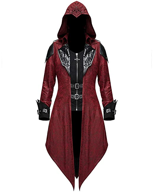 Devil Fashion Womens Gótico Chaquete con Capucha Rojo Dieselpunk Assassins Creed: Amazon.es: Ropa y accesorios