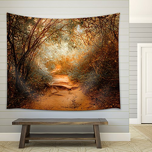 Surreal Colors of Fantasy Landscape at Tropical Jungle Forest with Tunnel and Path Way Through Lush Fabric Wall