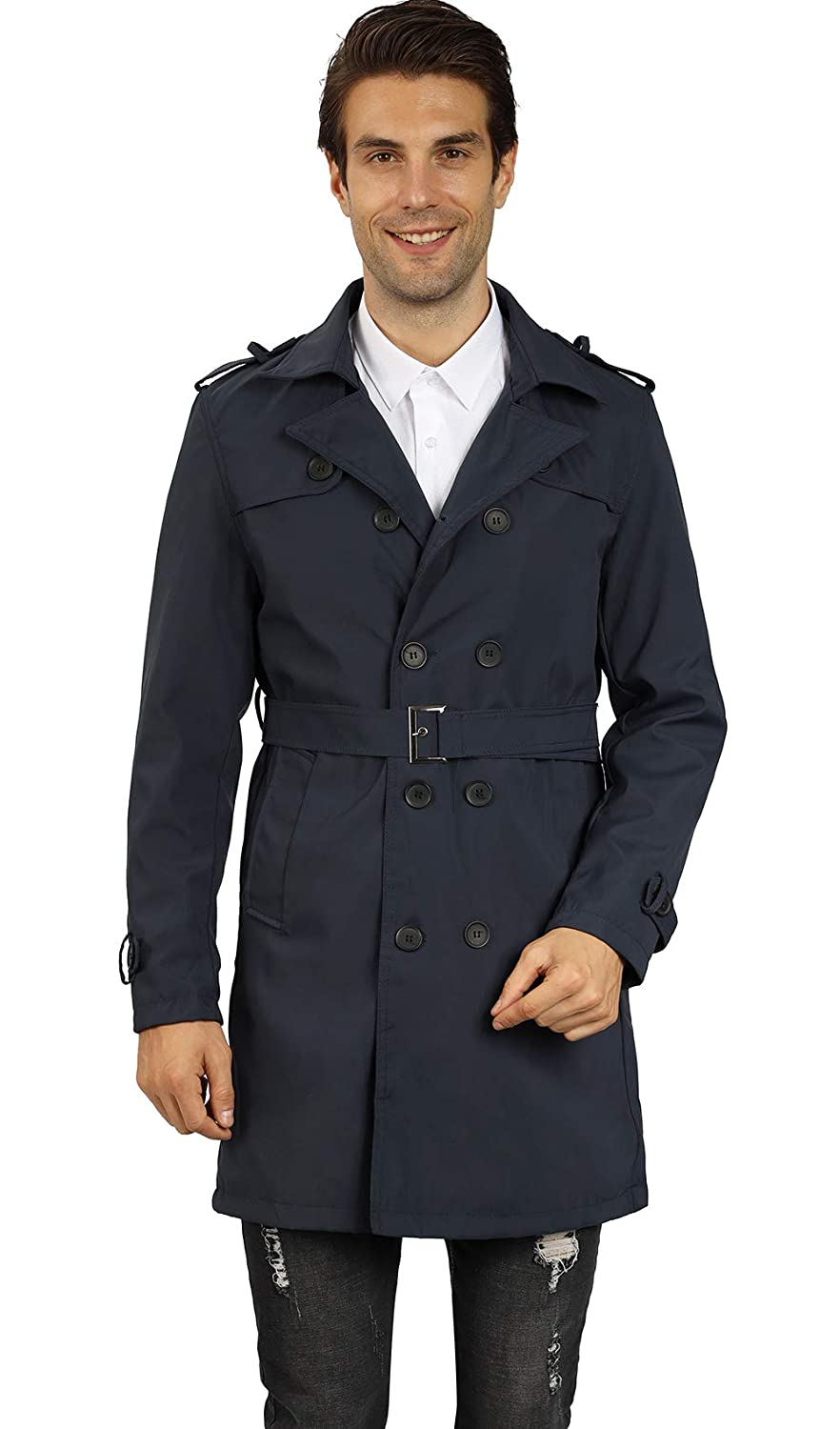 WULFUL Mens Double Breasted Trench Coat Slim Fit Business Mid-Long Jacket with Belt