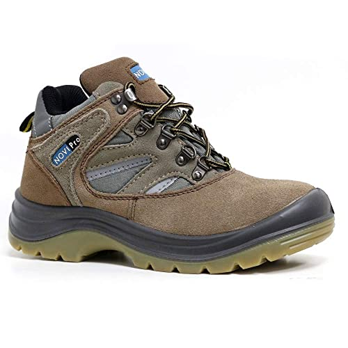 Marksman Ladies Leather Steel Toe Cap Safety Work Ankle Trainers Shoes Boots