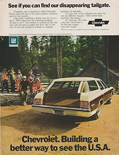 """1972 CHEVROLET KINGSWOOD ESTATE WAGON at YOSEMITE PARK """" See if you can find our disappearing tailgate """" VINTAGE COLOR AD - USA - GREAT ORIGINAL !!"""
