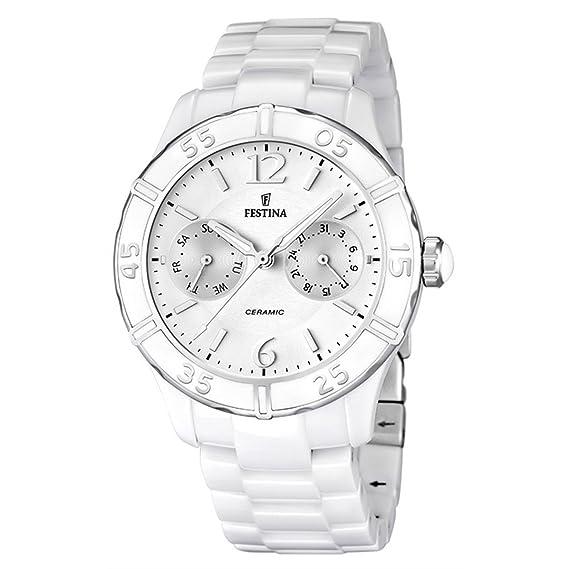 Festina F16622/1 - Reloj analógico de cuarzo para mujer con correa de cerámica, color blanco: Amazon.es: Relojes