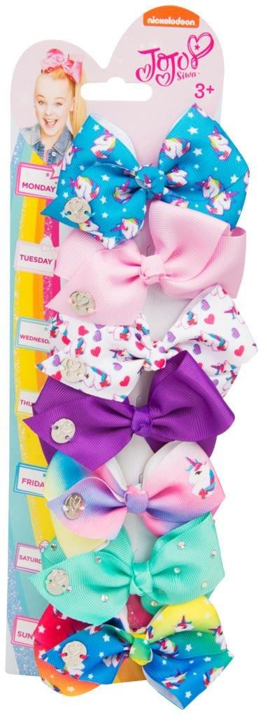JoJo Siwa Bows 7 days Jojo Bow 8 cm with Unicorn Patterns - Beautiful Hair Accessories - Best Stocking Filler for Girls Sambro