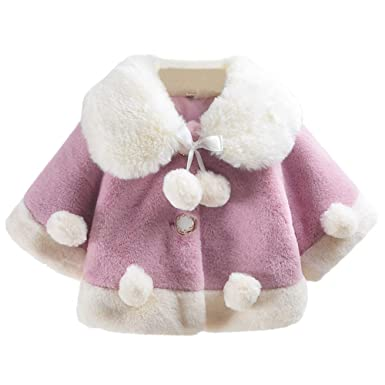 88d434f30 Aivtalk Baby Infant Girls Winter Warm Coat Cloak Jacket Cute Thick Clothes  with Pompom 12-