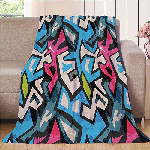 Throw Blanket Custom Cozy Blanket Perfect for Couch Sofa or Bed Beautiful 3D Printed,Grunge,Street Art Theme with Colorful Graffiti Funky Display Underground Urban Culture,Multicolor,31.50