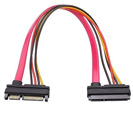 2 St/ück 7+15 Sata, Klinke auf Stecker, 22-Pin, 30 cm SIENOC Verl/ängerungs kabel