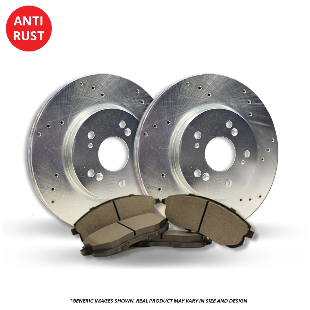 (Front Kit)(Heavy Tough-Series) 2 Silver Coated Cross-Drilled Disc Brake Rotors + 4 Semi-Metallic Pads(Fits:- 5lug)