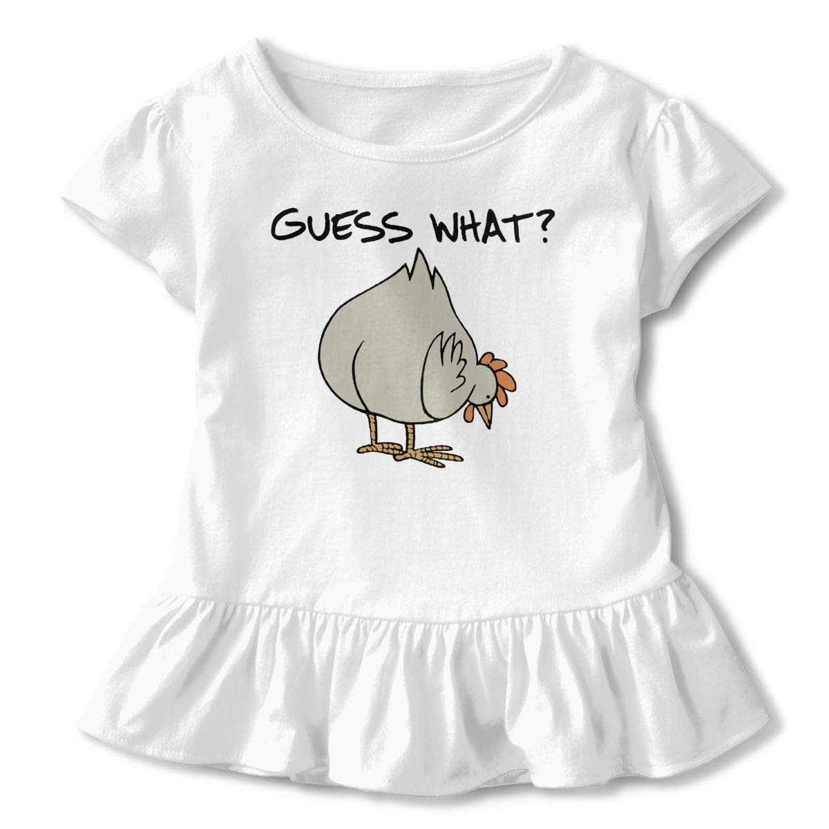 Guess What Chicken Butt Childrens Girls Short Sleeve Ruffles Shirt T-Shirt for 2-6 Toddlers