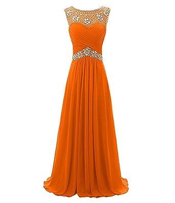macria Beaded Long Prom Dress Floor Length Evening Gown Size 4 Orange