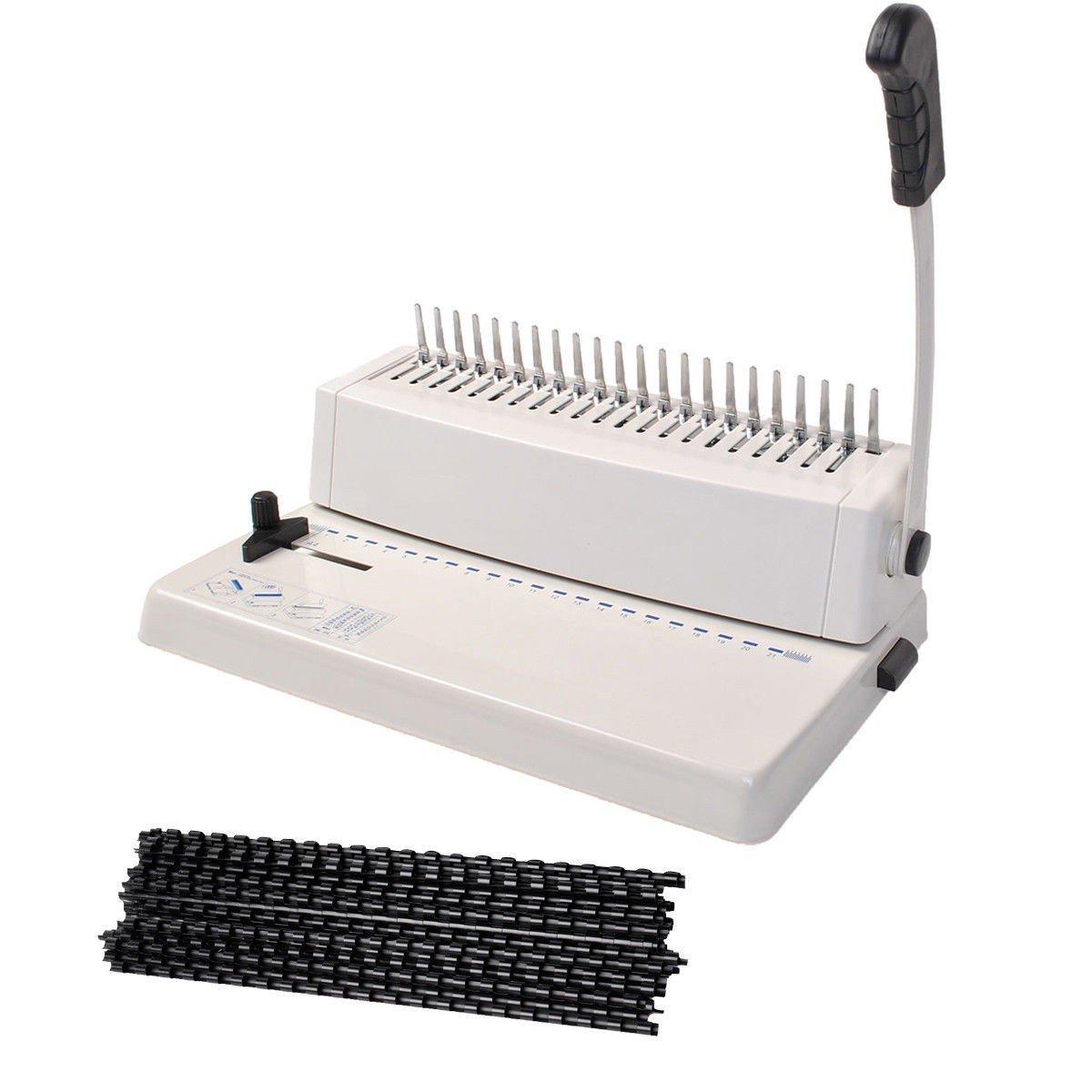 21-Hole 250 Sheets Paper Comb Punch Binder Binding Machine Scrapbook w/200 Combs