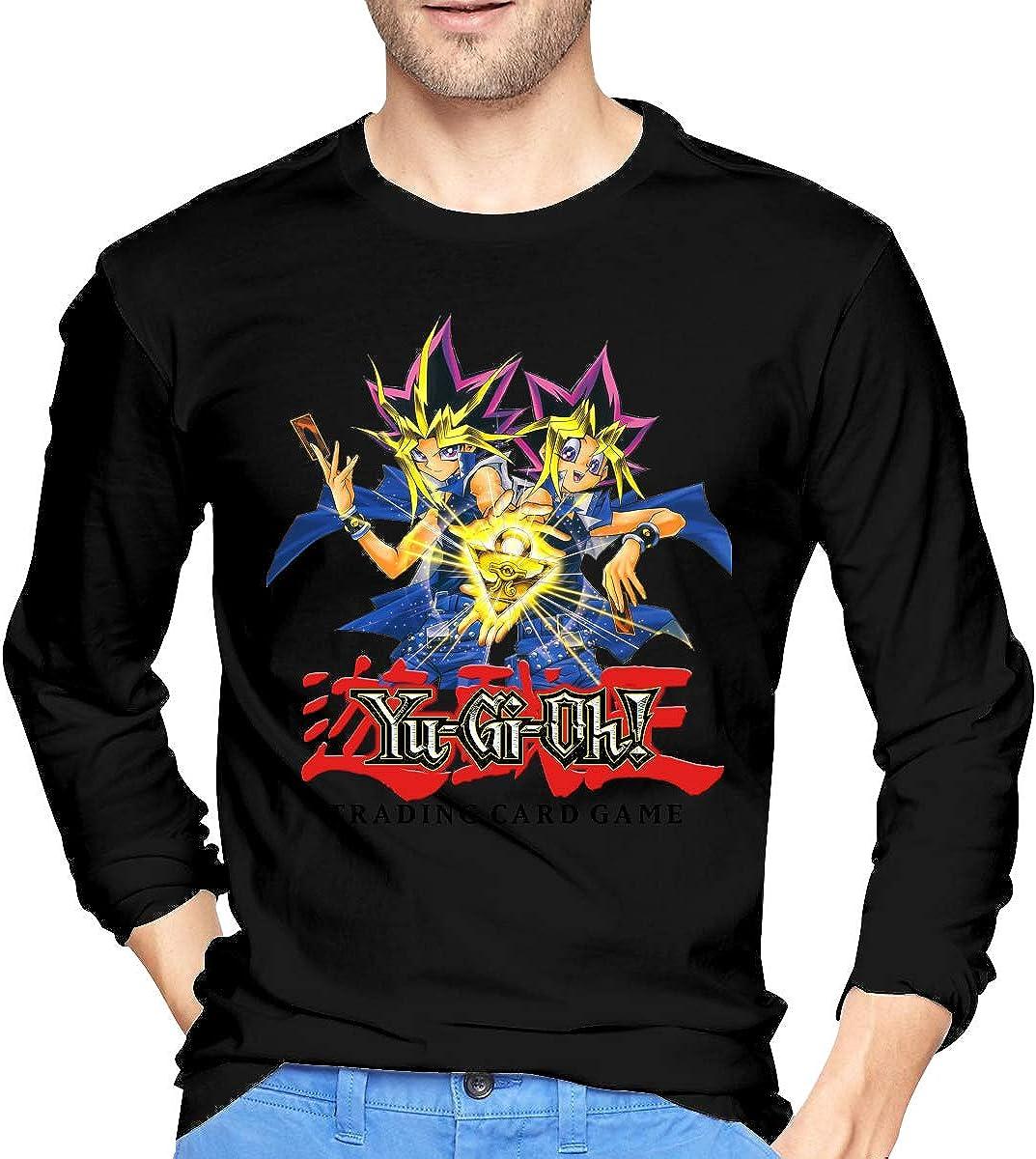 AlbertJ Mens Yu-Gi-Oh Long Sleeve T Shirt Black