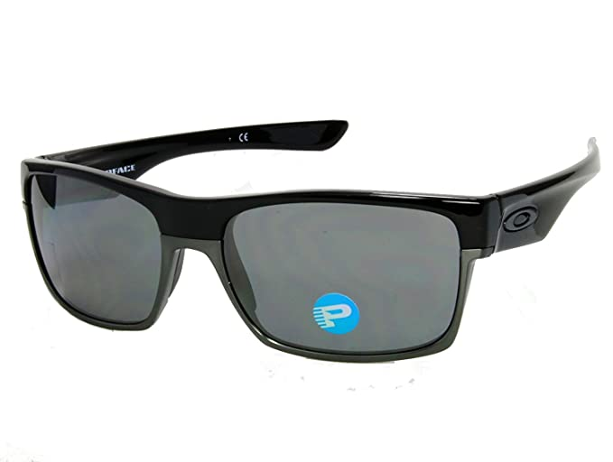 30eae8899a Oakley TwoFace OO9189-01 Shiny Black   Black Iridium Polarized Sunglasses   Amazon.co.uk  Clothing