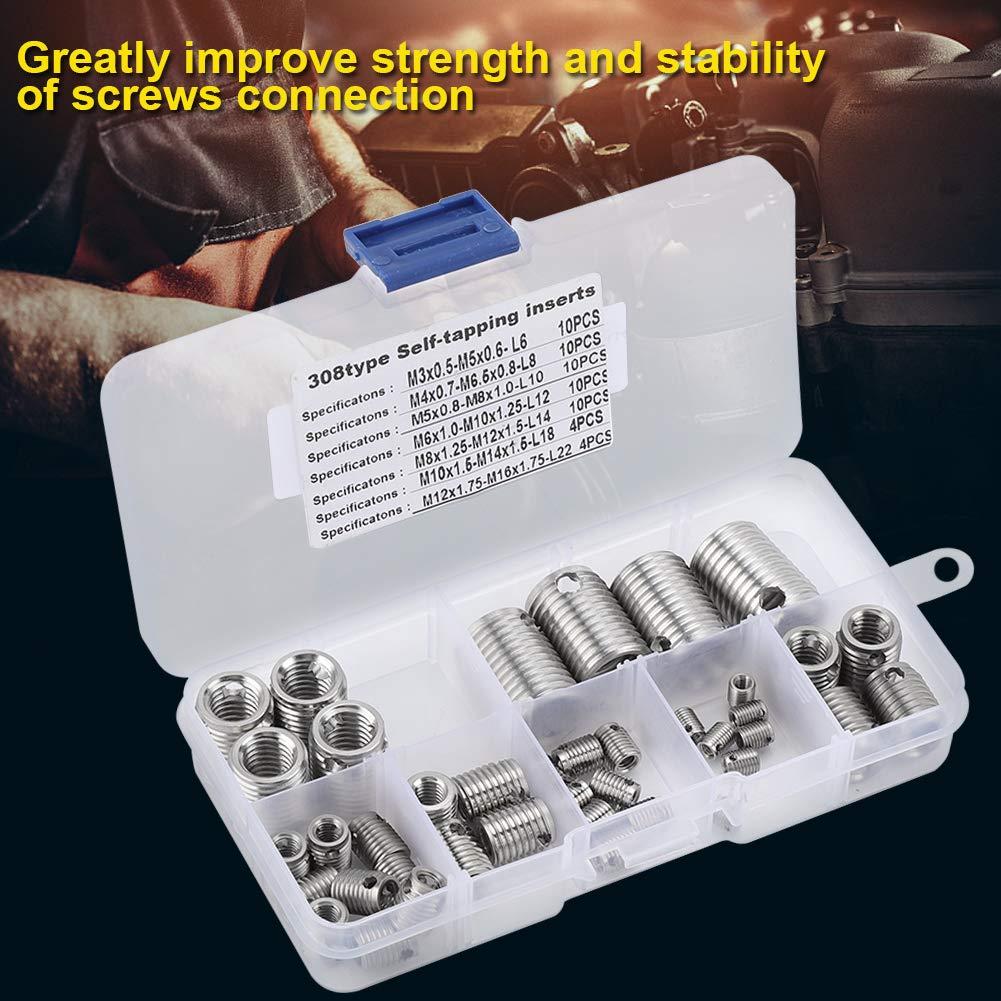 58pcs 308 Edelstahl Innengewinde selbstschneidende Gewindeeins/ätze Gewinde einstellen Repair Tool