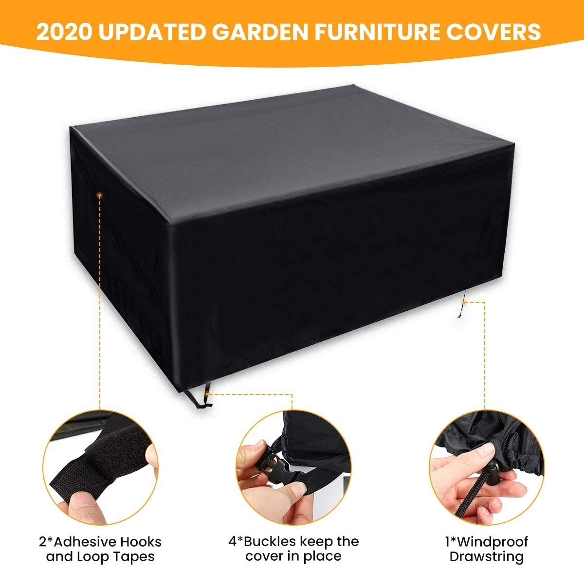 NTR Garden Furniture Covers 600D Heavy Duty Oxford Fabric Windproof Waterproof Anti-AV Cube Outdoor Patio Table Cover 180x120*74cm,130x130x74cm