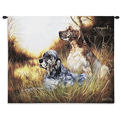 Tapestry English Setter (Pure Country Weavers - English Setter Hand Finished European Style Jacquard Woven Wall Tapestry. USA Size 26x34)