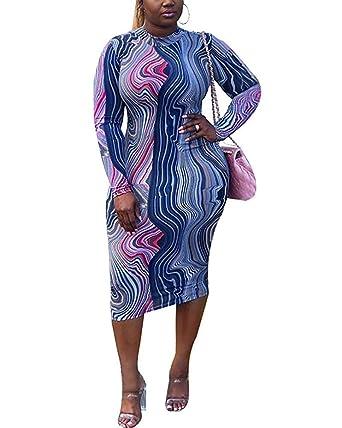 Women\'s Long Sleeve Bodycon Dress - Plus Size Mock Neck African Print Midi  Dress