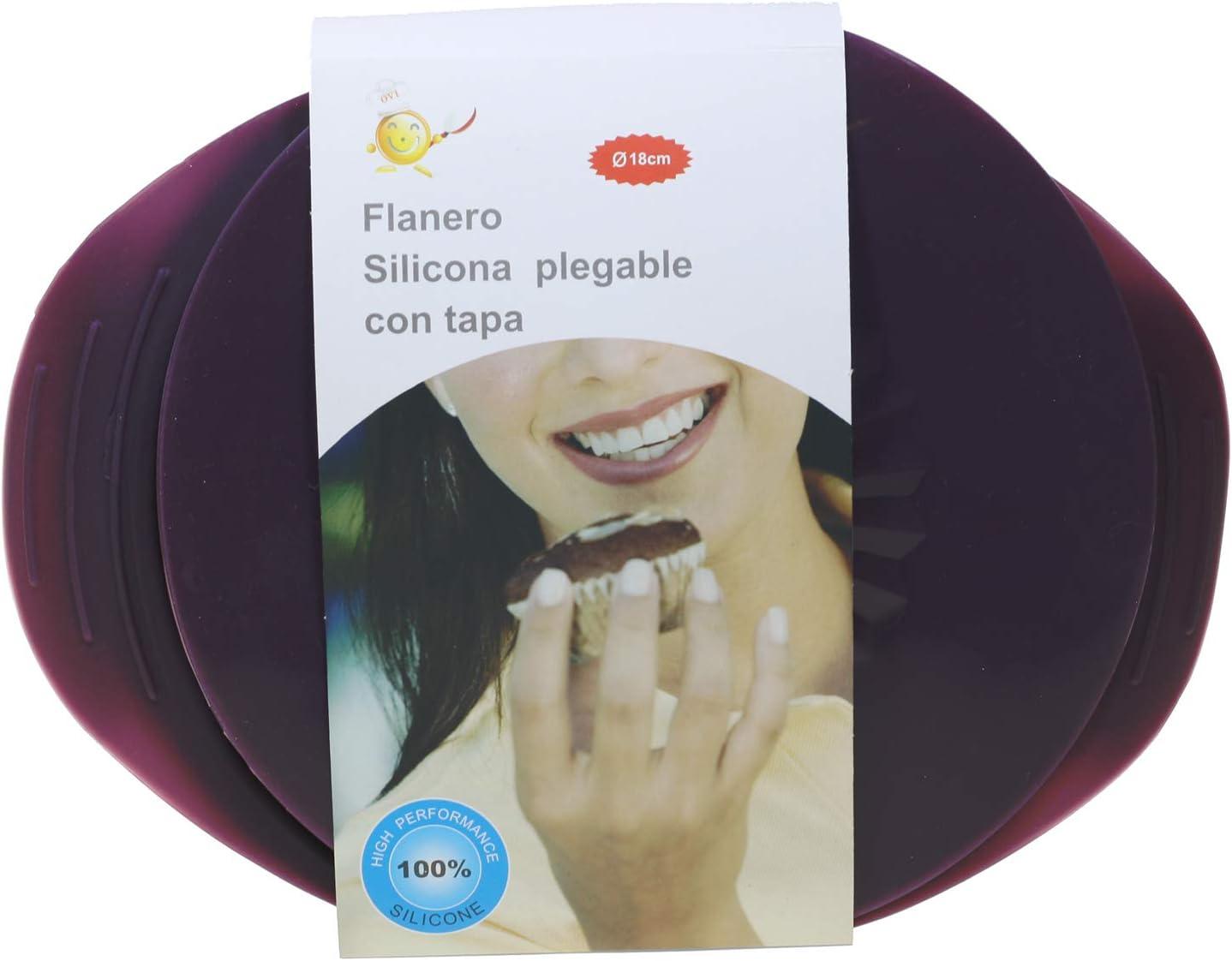 MI CASA Flanero silicona plegable con tapa, 18cm, Apto para horno ...