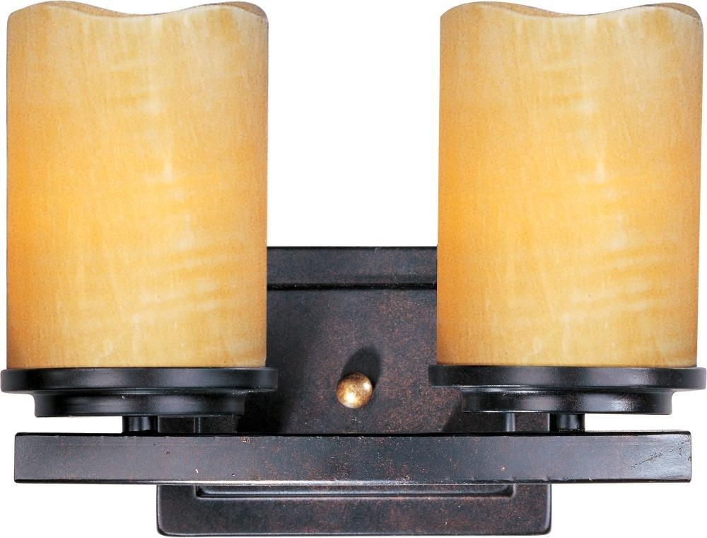 2ライト素朴なエボニーストーンCandleガラスVanity 21142scre B00MOJ5XU2