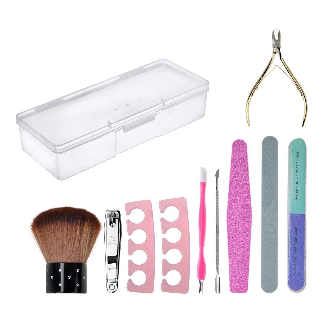 Biutee model nail art tool set Maniküre Pediküre Set mit nail buffer, Nail-Cutter, Metall Spatel, Nagelhautschieber, und nail zange set + Aufbewahrungs box TOOL-AT-746-MG