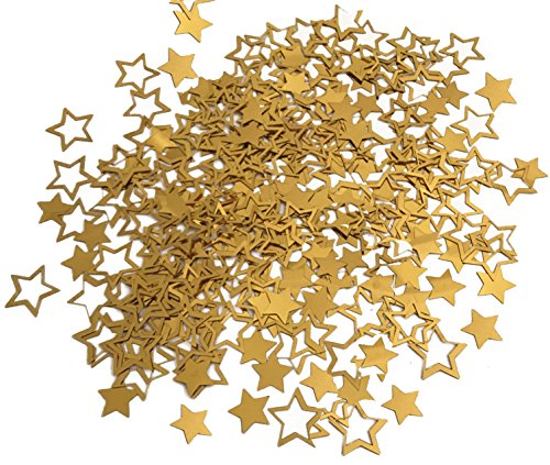 GOLD STAR CONFETTI TABLE DECORATIONS - 1.7 Oz Golden Star Metallic Foil Sequin Confetti for Party | Wedding Decorations | Twinkle Twinkle Little Star Decorations | Birthday Party | Arts (Twinkle Birthday)