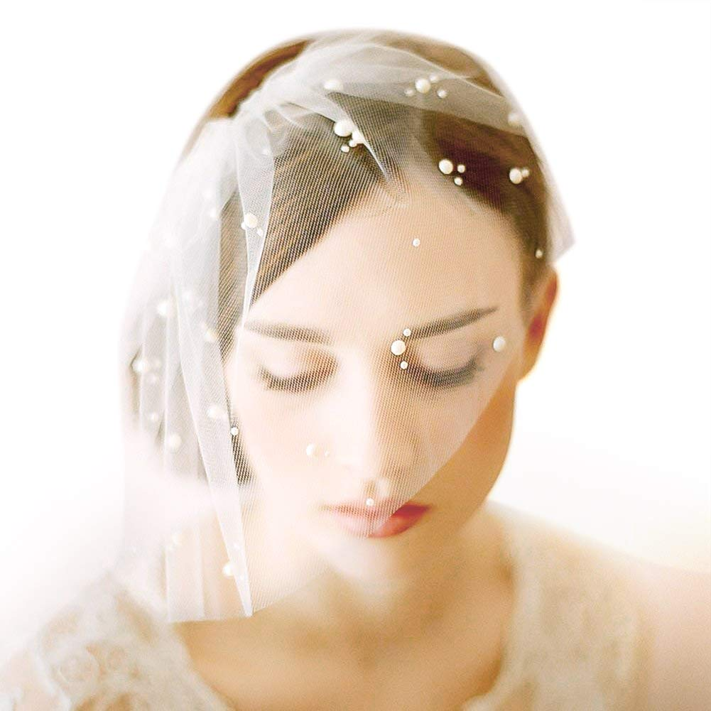 F-sport Elegant Ivory Short Tulle Birdcage with Comb Accessories Bridal Pearl Wedding Veil Headwear for Bride