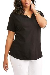f09266b90ba Terra   Sky Women s Plus Split Notch Neck Tee Top at Amazon Women s ...