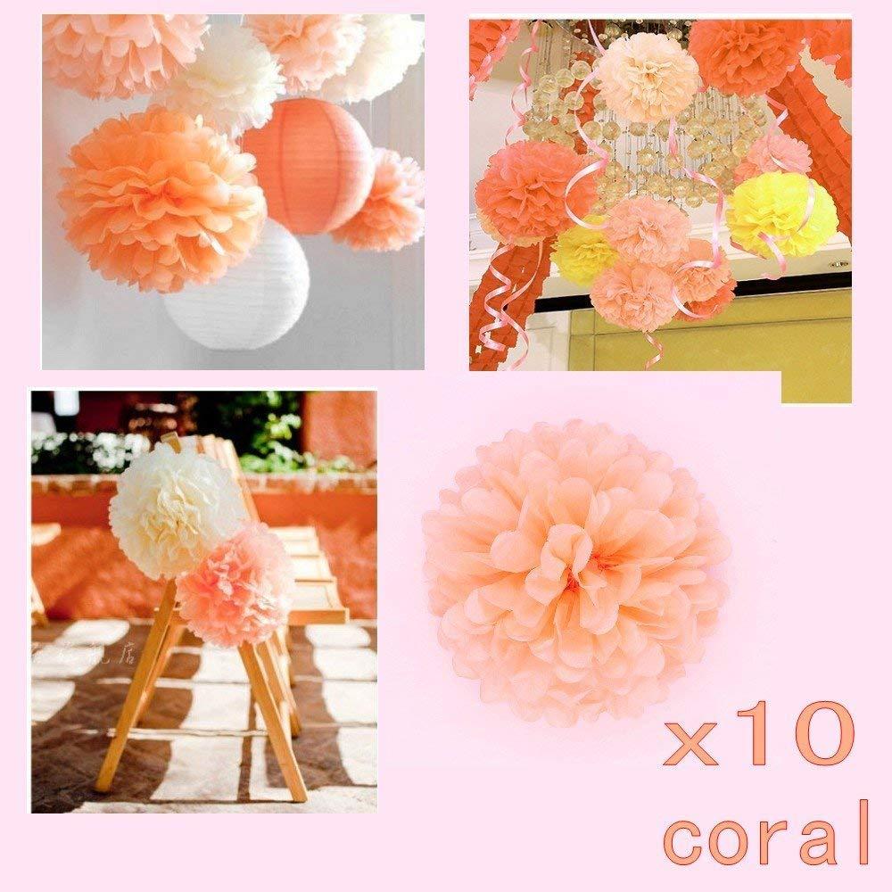 JZK 10 x Flores de papel pompones decoraciones pom pom 25 cm pompon para cumplea/ños boda fiesta comuni/ón bautismo graduado Navidad pon pon ponpon pom pon pompones pompom