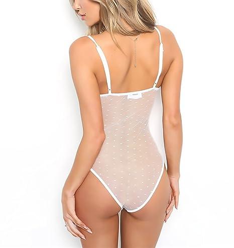 HaiDean Body Mujer Elegantes Malla De Encaje Transparente Sin ...
