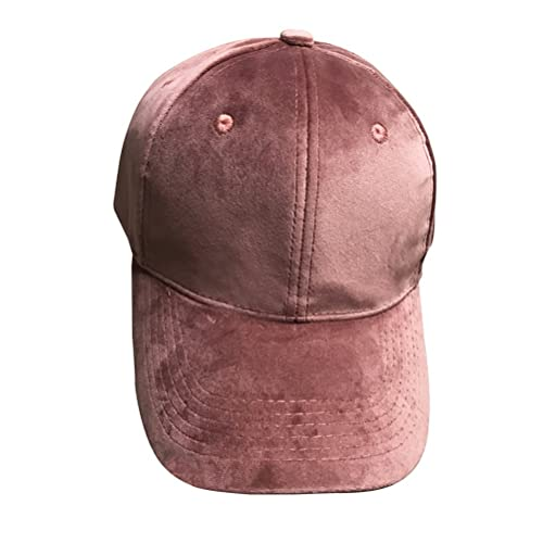 OULII Gorra de béisbol de terciopelo suave unisex Sombrero de deportes ajustable sólido Sombrero liso (rosa)