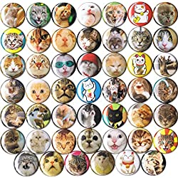 "Huge Wholesale Lot of 48 Cute Cat 1"" Pins/Buttons/Badges"