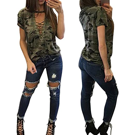 10e0f45a30f18e Women Shirts Lady Camouflage Criss Cross Short Sleeve Blouse Sweatshirt  Pullover Tops (S, Army