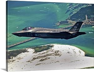 "GREATBIGCANVAS an F-35 Lightning II Flies Over Destin, Florida Canvas Wall Art Print, 30""x23""x1.5"""