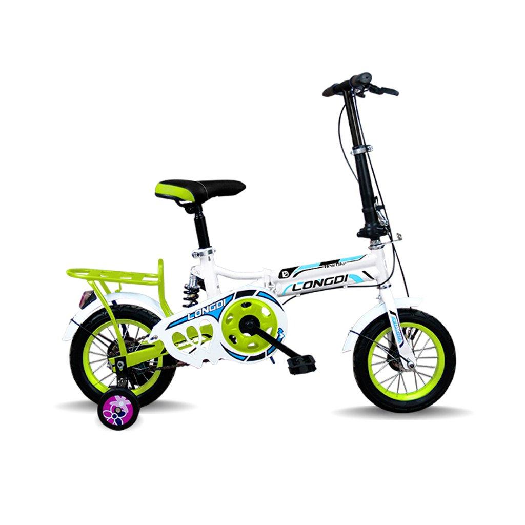 美しい 家チャイルドフォールド自転車3-6-8歳のベビーベビーカー12インチ16インチバイク (色 : 緑, サイズ さいず : 12inch) B07CXG19G3 12inch|緑 緑 12inch