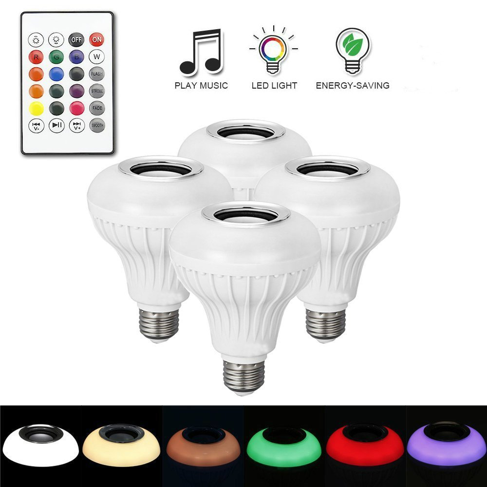 LightingU E27 RGB LED Bulb-Bluetooth Music Audio Speaker Lamp with 24 Keys Remote Control for Home Stage Party Gifts Indoor Decoration (Pack of 4 Bulbs)