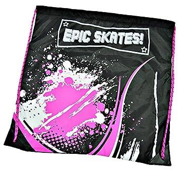 Epic Spear Black Pink Indoor Outdoor 90mm 3-Wheel Tri-Skate Inline Speed Skate Bundle w Matching Drawstring Bag Adult 5-8