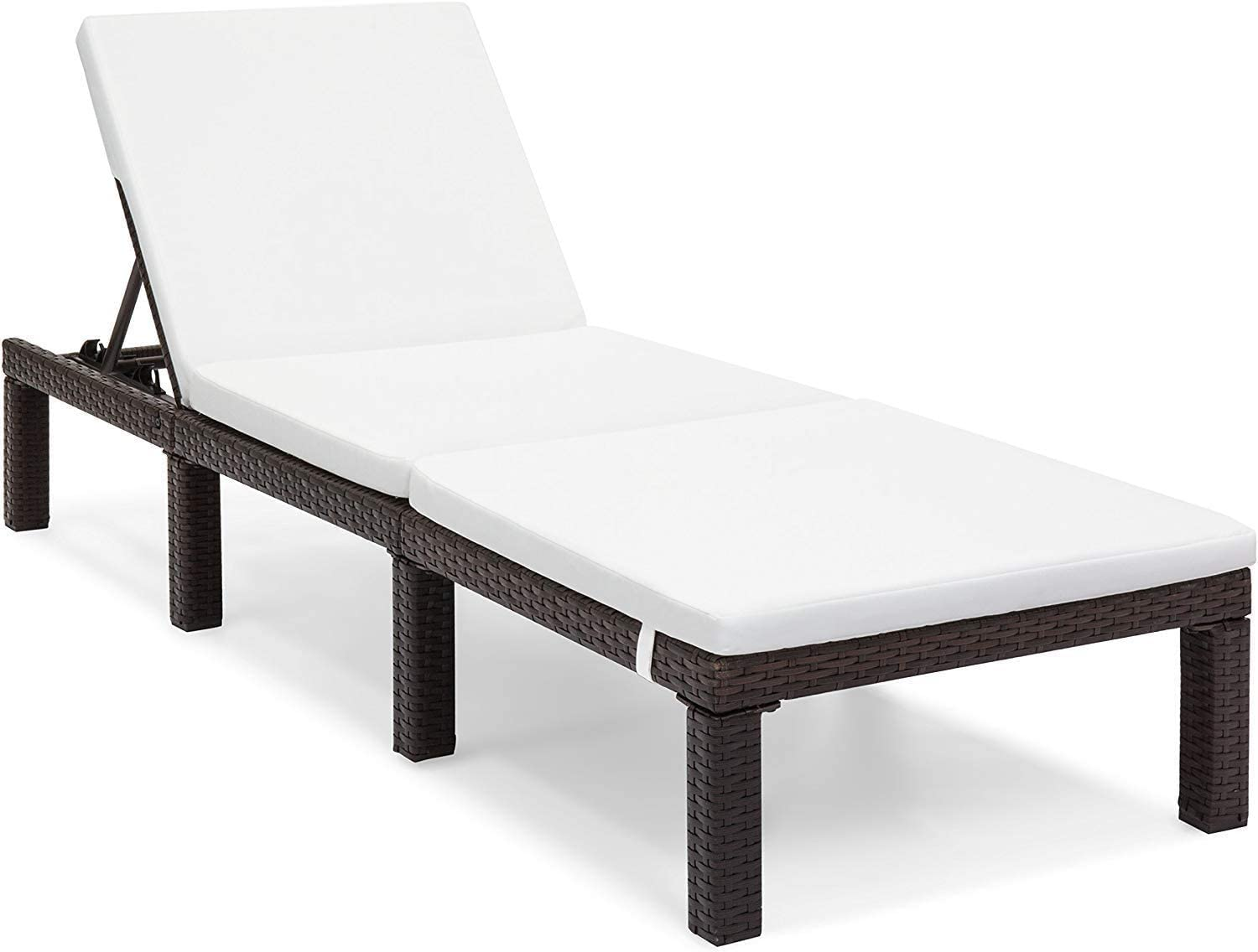 OAKVILLE FURNITURE 61702 Patio Outdoor Adjustable Pool Chaise Lounge Chair, Brown Wicker Beige Cushion