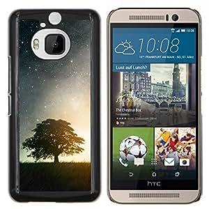Qstar Arte & diseño plástico duro Fundas Cover Cubre Hard Case Cover para HTC One M9Plus M9+ M9 Plus (Noche Estrellas y árbol)