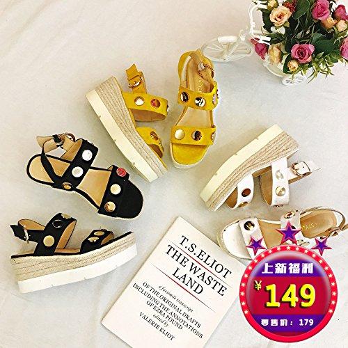 tinta Casual Woven s Women' Pine donna Sandali Thick Bottom Sandals shaoge unita per Shoe Shoes Cake with Women Colore a qAvA7U