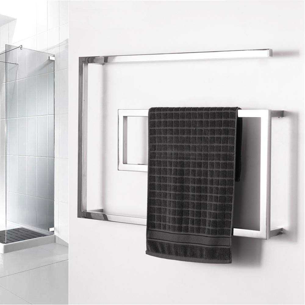 BILLY'S HOME Stainless Steel Towel Warmer, Electric Heated Towel Rack, Hot Towel Rail with Square Bars for Bathroom Kitchen Hotel 800 × 600 × 115mm,Plugin