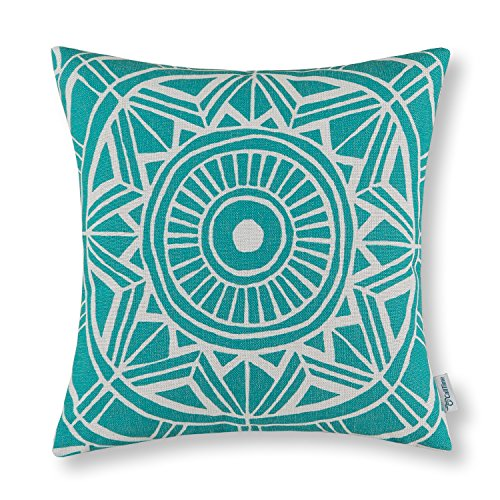 CaliTime Canvas Throw Pillow Cover Case for Couch Sofa Home Decoration Modern Compass Geometric 18 X 18 Inches Teal (Outdoor Pillows Batik)