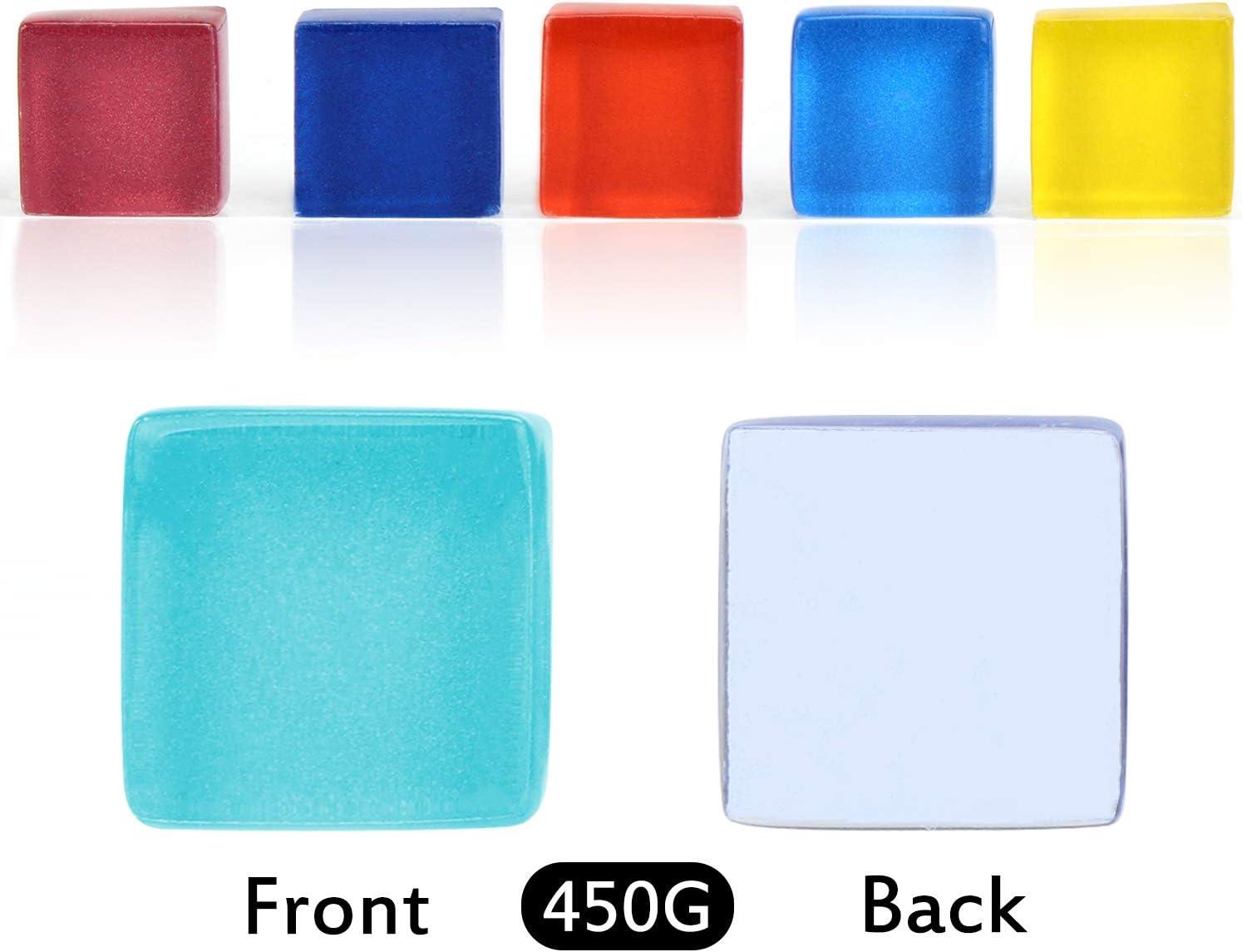 Piastrelle per mosaico in vetro colorato Coolty 1 x 1 cm 450 pezzi 450 g in colori assortiti decorazioni fatte a mano per lavori fai da te