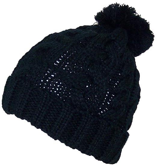 Best Winter Hats Thick Cuffed Cable   Rib Knit Beanie W Pom Pom (One ... 779268e7b6
