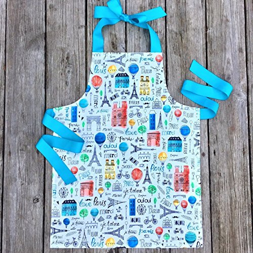 Colorful Paris Tween Girl Apron for Kitchen or Art from Sara Sews