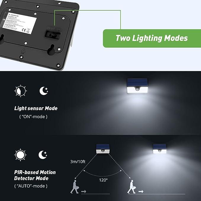 ... Batería 2200mAh, 2 modos, Foco solar Luz de 180 Grados, Resistente al Agua, Luz de Seguridad para Patio, Garaje etc. Pack de 2: Amazon.es: Iluminación