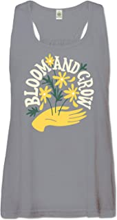 product image for Women's Bloom and Grow Recycled Racerback Tank Top - Grey Organic Cotton Graphic Sleeveless Yoga Top