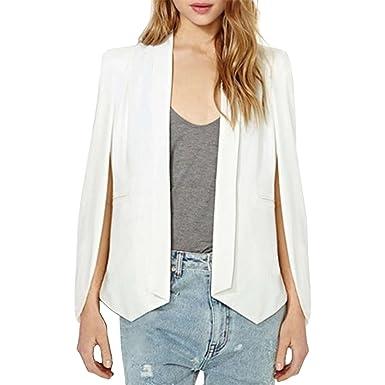 7f6f30f0f3a LAEMILIA Women Business Office Blazer Suit Jacket Chic Lapel Split Long  Sleeve Cape Fashion Workwear Coat  Amazon.co.uk  Clothing