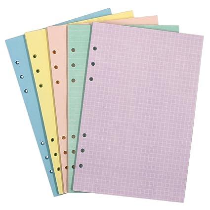Pack de 200 hojas en blanco de recambios para papel de páginas para 6-holes cartón, color multicolor A5