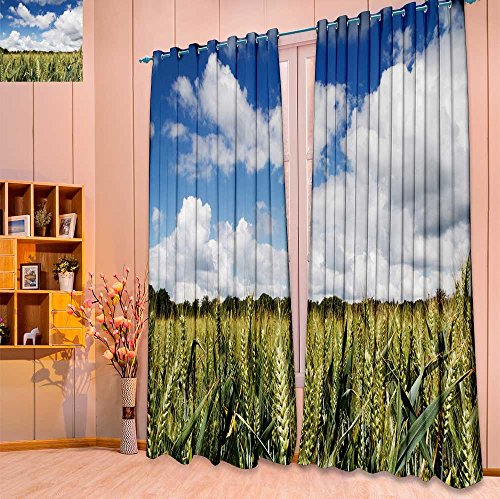 SeptSonne Thermal Insulated Grommet Unlined Window Curtains wheat growing in a field in the chilterns england Set of Two Panels(W52