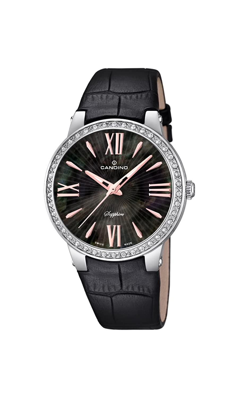 Candino Damen-Quarzuhr mit schwarzem Zifferblatt Analog-Anzeige und schwarz Lederband C4597-2